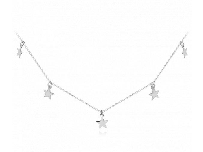 Stříbrný náhrdelník MINET s drobnými hvězdičkami