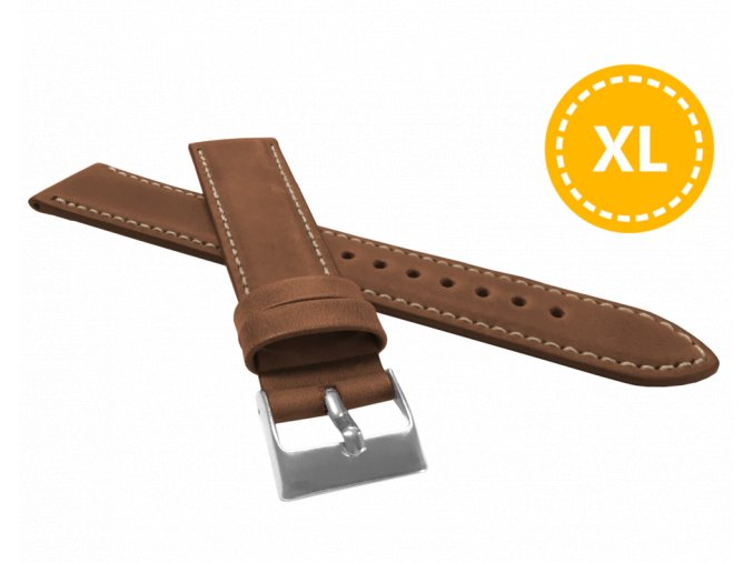 XL Prodloužený polstrovaný hnědý prošitý řemínek LAVVU SPORT z luxusní kůže Top Grain - 18