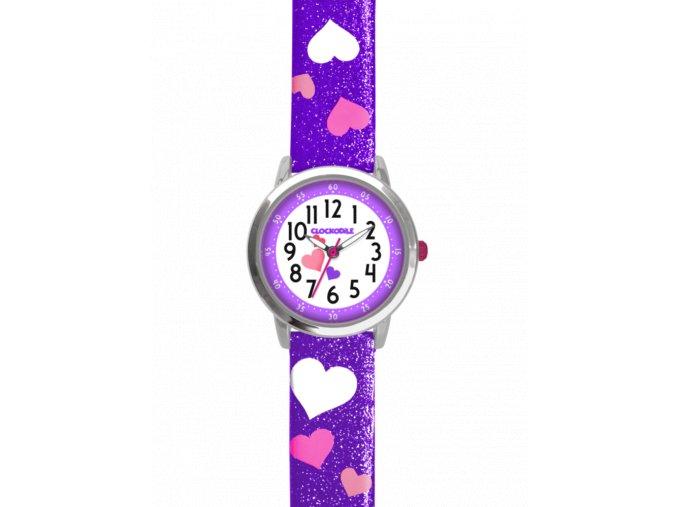 Fialové třpytivé dívčí dětské hodinky se srdíčky CLOCKODILE HEARTS