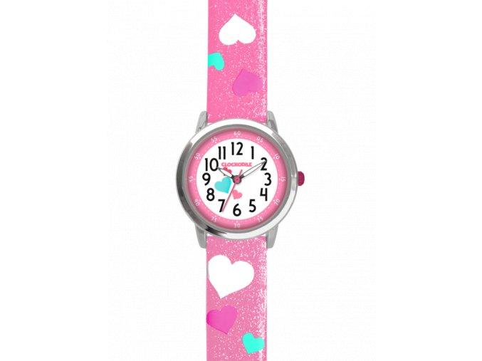 Růžové třpytivé dívčí dětské hodinky se srdíčky CLOCKODILE HEARTS
