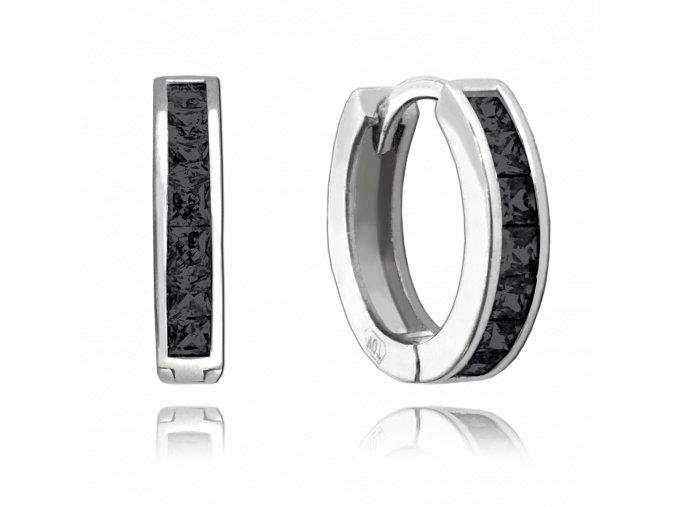 Třpytivé stříbrné náušnice MINET s velkými černými zirkony
