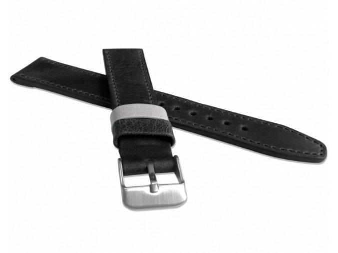 Černý prošitý řemínek LAVVU TAILOR z luxusní kůže Top Grain - 22