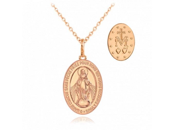 Rose gold stříbrný náhrdelník MINET Zázračná medaile | Medailka Neposkvrněného Početí