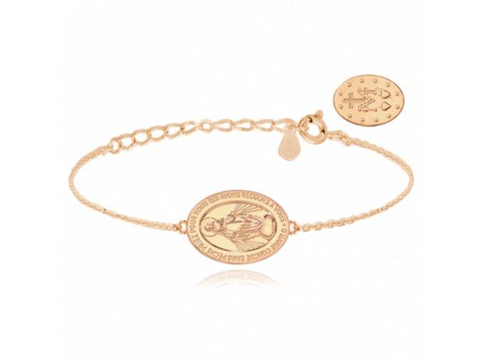 Rose gold stříbrný náramek MINET Zázračná medaile | Medailka Neposkvrněného Početí