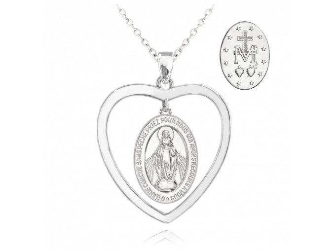 Stříbrný náhrdelník MINET Zázračná medaile | Medailka Neposkvrněného Početí v srdci