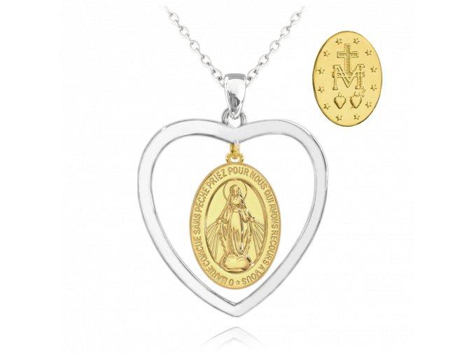 Pozlacený stříbrný náhrdelník MINET Zázračná medaile | Medailka Neposkvrněného Početí v srdci