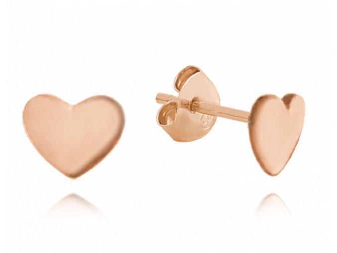 Minimalistické rose gold stříbrné náušnice MINET - srdíčka