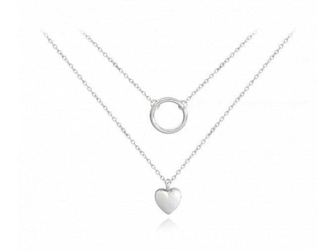 Dvojitý stříbrný náhrdelník MINET se srdíčkem a kroužkem