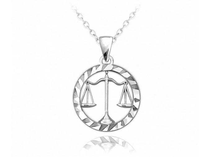 Stříbrný náhrdelník MINET Zodiac znamení VÁHY