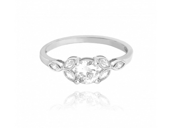Luxusní rozkvetlý stříbrný prsten MINET FLOWERS s bílými zirkony vel. 56
