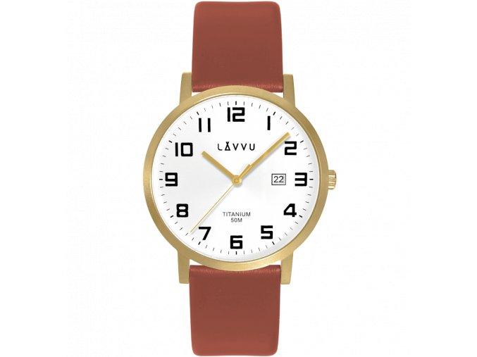 Extrémně lehké titanové hodinky LAVVU TITANIUM LYNGDAL Gold