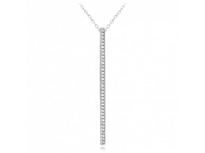 Stříbrný náhrdelník MINET s bílými zirkony