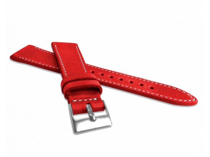 Přírodně barvený červený řemínek LAVVU NATURE z kůže Top Grain - 22