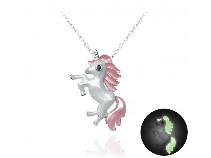 Svítící růžový stříbrný náhrdelník MINET JEDNOROŽEC