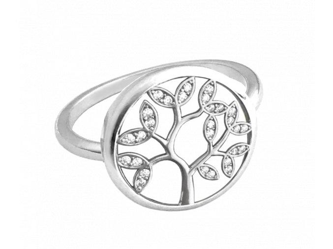 Stříbrný prsten MINET STROM ŽIVOTA s bílými zirkony vel. 54