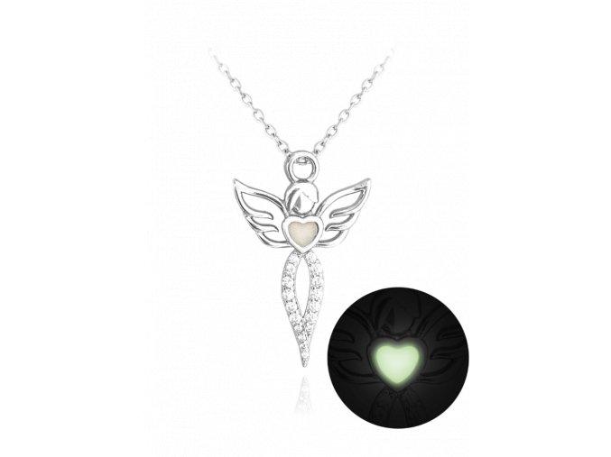 Svítící stříbrný náhrdelník MINET ANDĚL s bílými zirkony