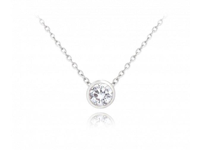 Decentní stříbrný náhrdelník MINET s bílým zirkonem