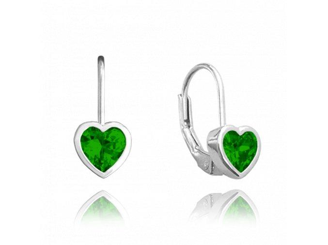 Stříbrné náušnice MINET SRDÍČKA se zelenými zirkony
