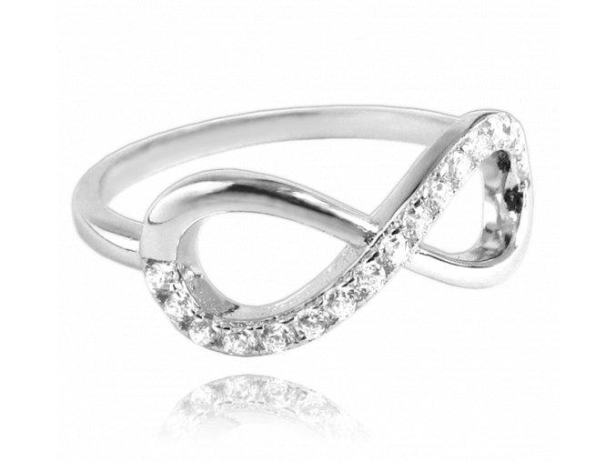 Stříbrný prsten MINET INFINITY s bílými zirkony vel. 54
