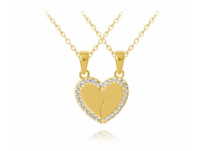 Pozlacený stříbrný náhrdelník přátelství MINET FRIENDS FOREVER