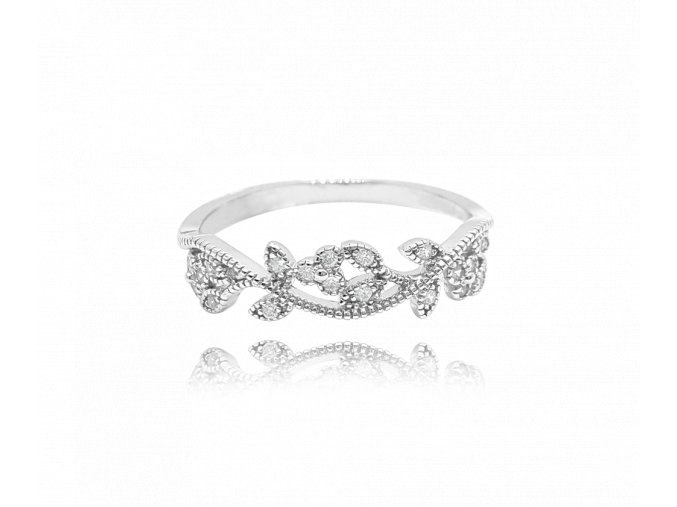 Rozkvetlý stříbrný prsten MINET FLOWERS s bílými zirkony vel. 50