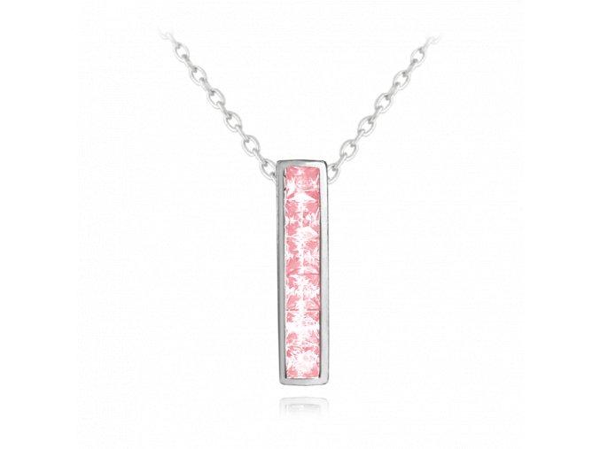 Třpytivý stříbrný náhrdelník MINET s velkými růžovými zirkony