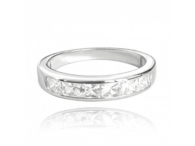 Stříbrný prsten MINET s velkými bílými zirkony vel. 50
