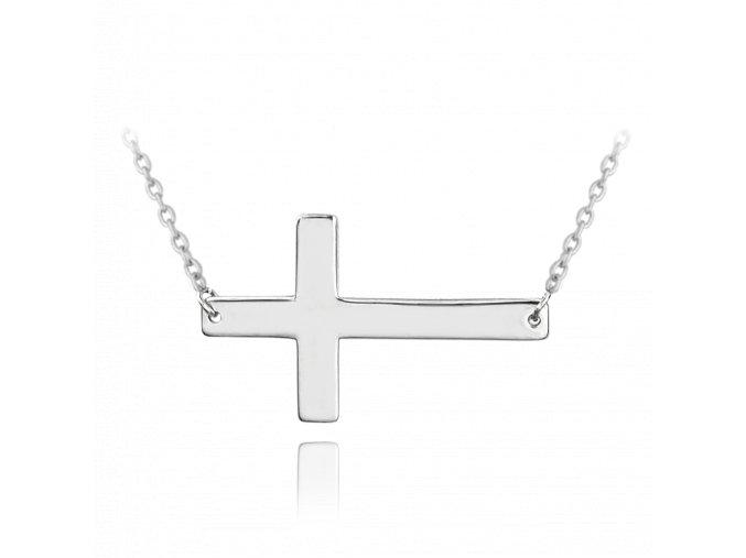 Stříbrný náhrdelník MINET KŘÍŽ ležatý