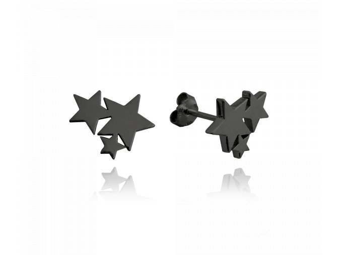 Černé stříbrné náušnice MINET HVĚZDIČKY