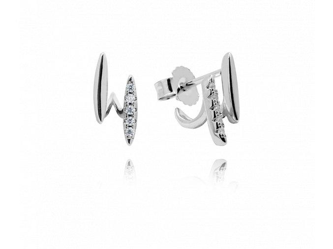 Elegantní stříbrné náušnice MINET s bílými zirkony