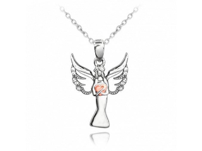 Stříbrný náhrdelník MINET ANDĚL s Rosegold srdíčkem