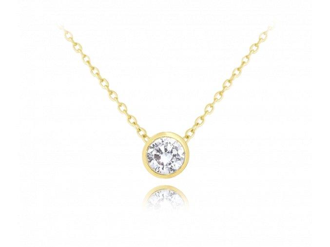 Decentní pozlacený stříbrný náhrdelník MINET s bílým zirkonem