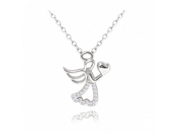 Stříbrný náhrdelník MINET ANDĚL se srdíčkem