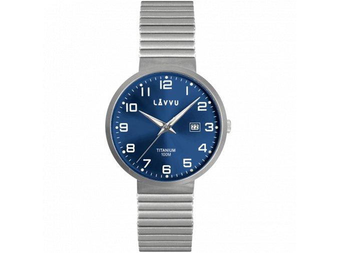Titanové pružné hodinky s vodotěsností 100M LAVVU LUNDEN Blue