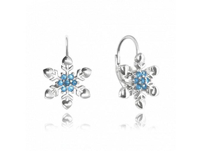Stříbrné náušnice MINET SNĚHOVÉ VLOČKY s modrými zirkony