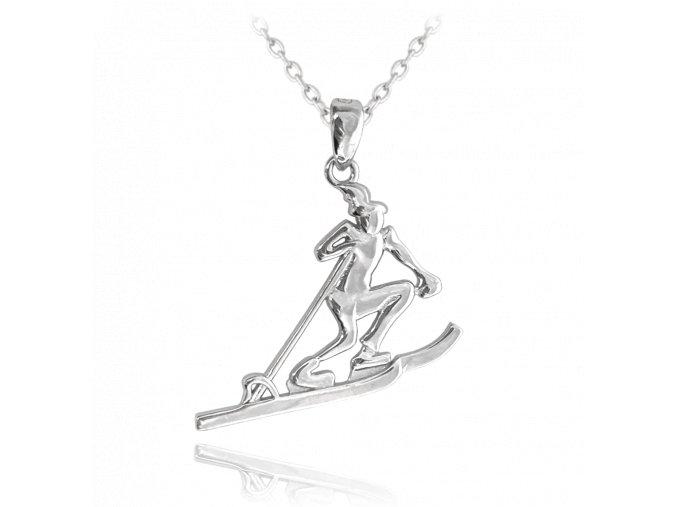 Stříbrný náhrdelník MINET LYŽAŘ