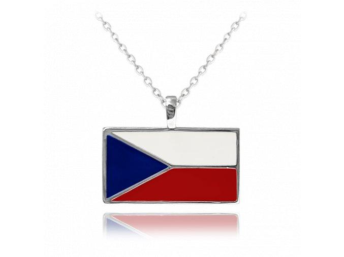 Stříbrný náhrdelník MINET ČESKÁ VLAJKA