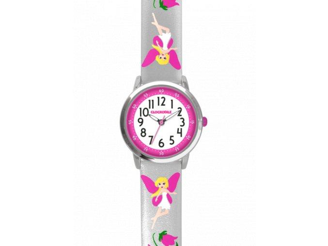 Stříbrné třpytivé dívčí dětské hodinky s růžovými vílami CLOCKODILE FAIRIES