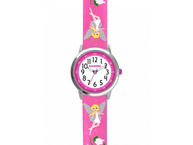 Růžové třpytivé dívčí dětské hodinky s vílami CLOCKODILE FAIRIES