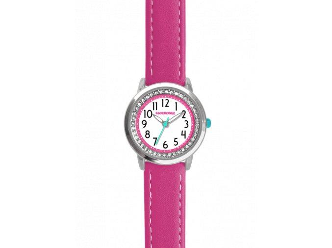 Tmavě růžové třpytivé dívčí dětské hodinky se kamínky CLOCKODILE SPARKLE
