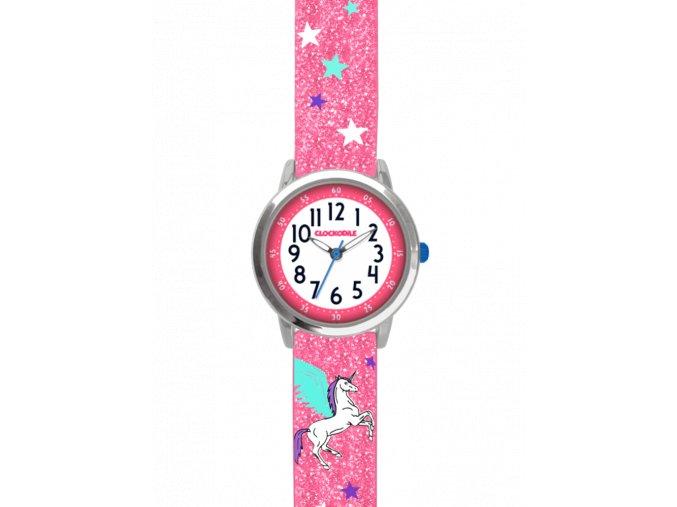 Růžové třpytivé dětské dívčí hodinky s jednorožcem CLOCKODILE UNICORN