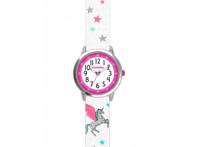 Bílé třpytivé dívčí dětské hodinky s jednorožcem CLOCKODILE UNICORN