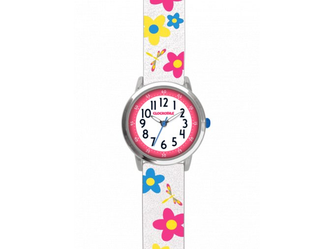 Květované bílé dívčí dětské hodinky CLOCKODILE FLOWERS se třpytkami