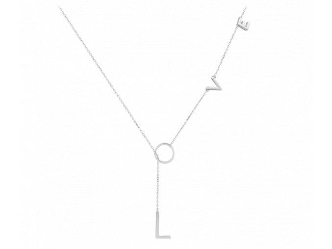 Výrazný stříbrný náhrdelník MINET LOVE
