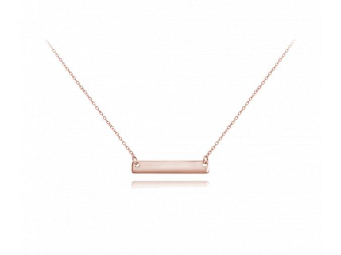 Rose gold stříbrný náhrdelník MINET ENGRAVE - destička pro gravírování