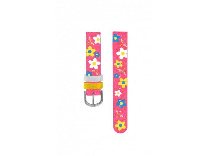 Růžový květovaný řemínek k dětským hodinkám CLOCKODILE