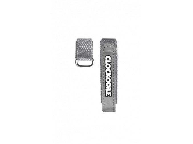 Reflexní šedý řemínek na suchý zip k dětským hodinkám CLOCKODILE
