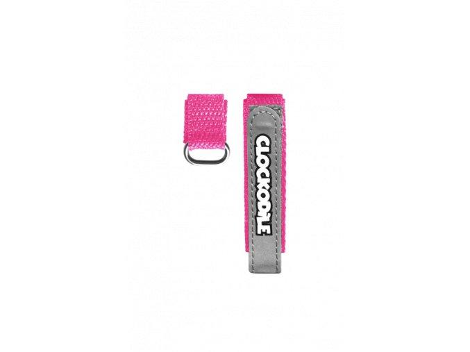 Reflexní růžový řemínek na suchý zip k dětským hodinkám CLOCKODILE