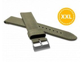 XXL Prodloužený prošitý olivově zelený řemínek LAVVU SPORT z luxusní kůže Top Grain - 22 XXL