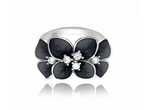 Černý rozkvetlý stříbrný prsten MINET FLOWERS s bílými zirkony vel. 55